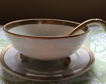 Hand Painted Nippon Gravy Boat, Ladle and Saucer