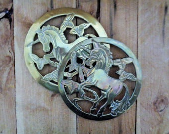 Vintage Brass Unicorn Trivet Hot pad Retro Kitchen Decor