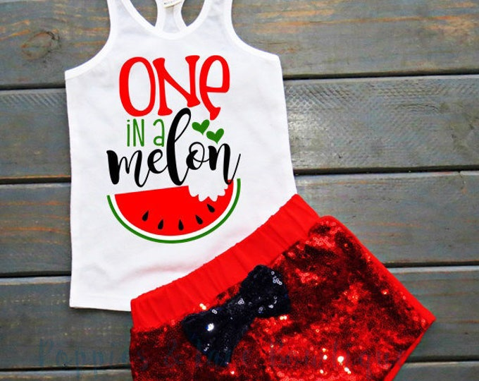 One in a Melon Outfit, Baby's First Birthday, Watermelon Birthday, Summer Birthday Outfit, Sequin Shorts, Racerback Tank, Gifts For Girl