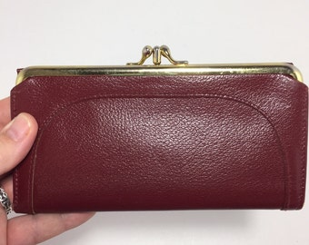 Buxton Red Leather Wallet Made in Canada