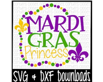 Mardi Gras SVG * Mardi Gras Princess * Mardi Gras * Beads Cut File - SVG & DXF Files - Silhouette Cameo, Cricut