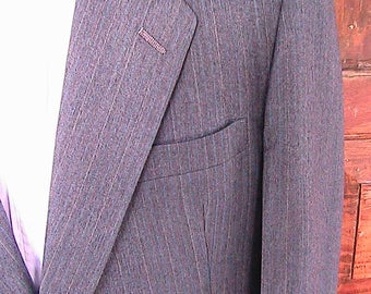 42L SUIT Hart Schaffner & Marx Two Button Striped Wool