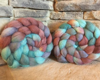 Bfl Combed Top - Spinning Fiber - Feltable - Hand Painted - approx. 4 ounces each - COPPER ROOF