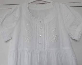 Vintage Style Hand Made White Cotton Night Gown with Rose Motif CUSTOM ORDER