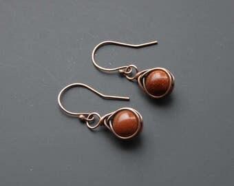 goldstone earrings, drop earrings, copper earrings, wire wrap jewelry, wire wrap earrings, wire jewelry, gemstone jewellery, gift for her