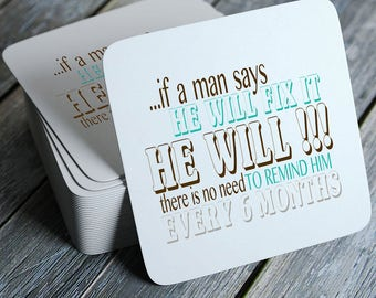 He Will Fix It... - Funny Coasters Set of 4