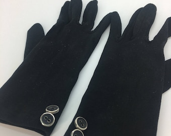 Vintage black evening gloves ladies  womens rockerbilly glamour hollywood 1950s 1960s 50s 60s fifties sixties