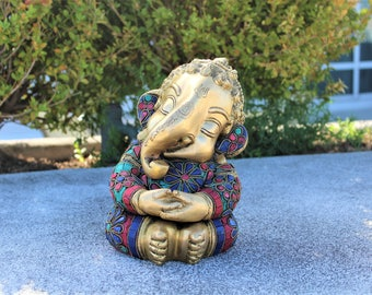 Bal Ganesha Statue - Gappu Ganesha Brass Statue - Child Ganesha Brass Statue with gemstones - Elephant God - Ganesh Lord Hindu Idol