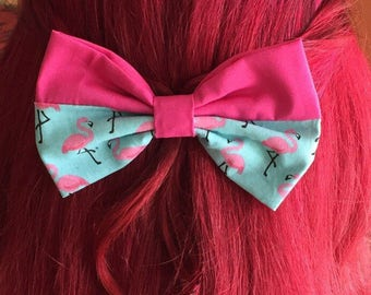 Hair bow Barrette rockabilly Flamingo