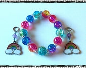 Bright and Beautiful Rainbow Crackle Glass Beaded Bracelet  (matching Rainbow hearing aid charms available at a discounted bundle price)!