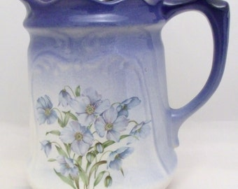 Vintage Blue Jug with floral motiv from 'The Reme Collection', 19cm tall