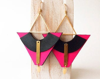 leather earrings. Gold plated 24 carat
