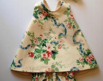 Vintage Rose Garden Pinafore, bloomers, headband, Summer Dress, Sundress, Party Dress, Size 6 month
