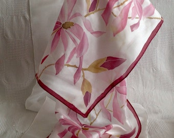 Silk scarf, Hand made, Hand painted pink magnolia flowers on pure silk