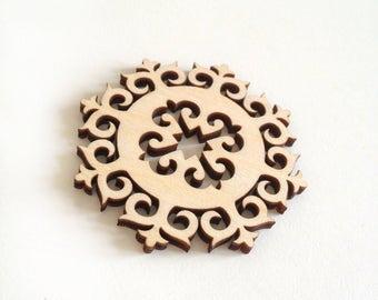 Laser cut wood ornamental detail 330 / Wood shapes / Wood ornaments / Wood charms / Laser cut wood / Ornaments / Wood cutouts / Wood crafts