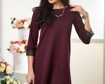 Trapeze gown maroon Midi dress Asymmetric gown Casual womens dress Royal blue knee dress Jersey dress spring Little black dress Holiday gown