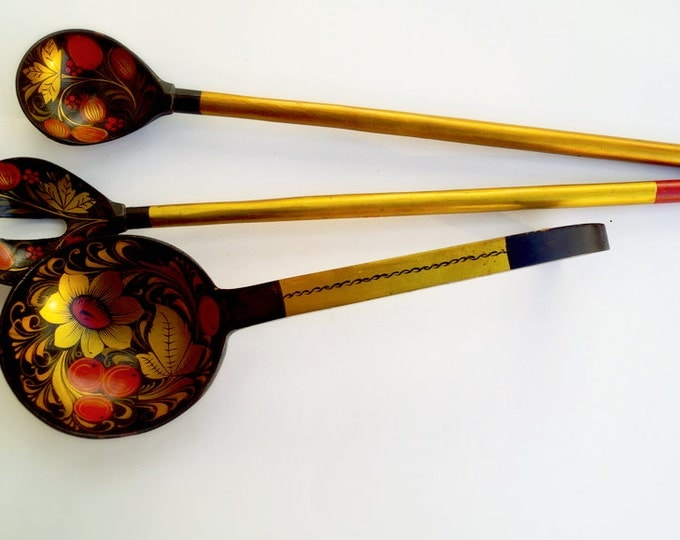 Set wooden spoons and ladle Khokhloma - Vintage hand painted wooden spoons - Old wooden large 3 spoons - antique kitchen dishes
