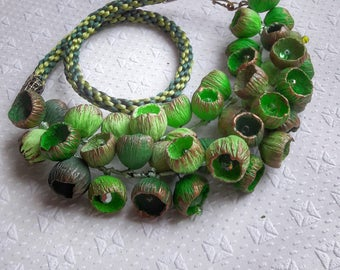Dainty jewelery, unusual necklaces, unusual gifts from polymer clay with green buds.