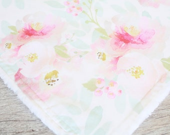 Watercolor floral baby girl blanket - Minky Blanket - Minky Baby Blanket - Baby Girl Blanket - Faux Fur Minky - Made to Order