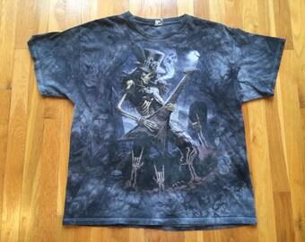 Vintage rock n roll skeleton tie dye tshirt size XL rocker goth