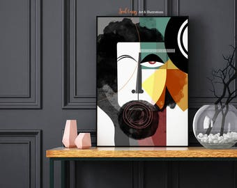 The Bearded Man: Modern contemporary abstract masculine face art print