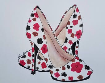 Fashion Illustration, Floral, Shoes, Fashion, Heels, Floral Heels, High Heels, Drawing, Wall Art, Art, Ink Drawing, Pen & Ink, Summer Shoes