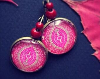 Earrings red folk