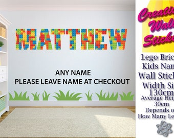 Lego Bricks Kid Bedroom Wall Sticker any name can be done 130cm in width by approx 30cm in height