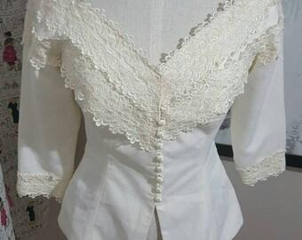 Vintage Grace Kelly-esque Blouse Size M