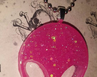 Alien Pink Glitter Necklace