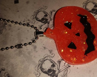 Orange Pumpkin Glitter Necklace