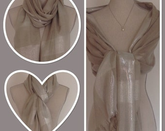 Grey Silver Lurex Sheen Stripe Pashmina Weddings Races Proms Gift Idea Extra Long/Extra Wide