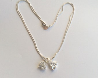 Sterling heart necklace with prong set crystal stones # 214