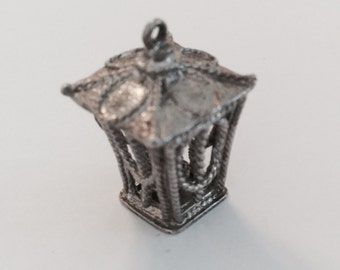 Gas lamp vintage sterling silver charm # 428