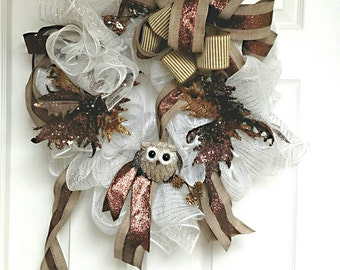 Winter White and Brown Wreath