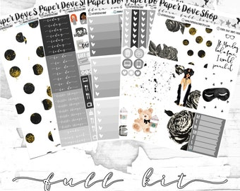 Flora Full Kit-- ECLP Vertical, Decorative Stickers, Planner Stickers, Floral/Blogger Kit