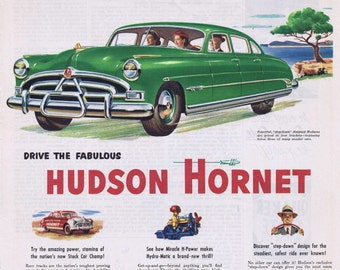 1951 hudson hornet original vintage automobile advertisement with great art