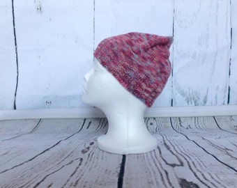 Pink Merino Wool hat, Warm winter hat, Hand Knit Beanie Hat, Pink Snow Hat, Slouchy Beanie, Handmade Adult Beanie, Fitted Ski Cap