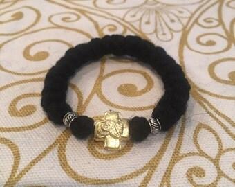 Orthodox komboskini, chotki, prayer rope, 22-knot, child size, traditional black wool, gold Cross