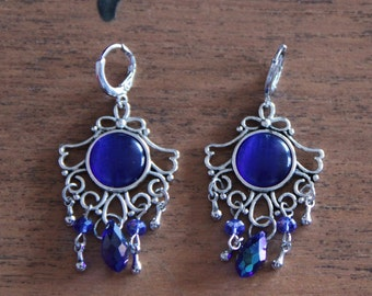 SALE 50% - Vintage blue and Silver earrings