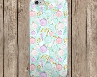 iPhone 5/5s/SE   iPhone 6/6s   iPhone 6 Plus/6s Plus   Pastel Christmas Ornaments Design iPhone Case