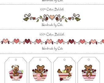 Valentine Labels and Gift Tags Combo - PDF FILE ONLY