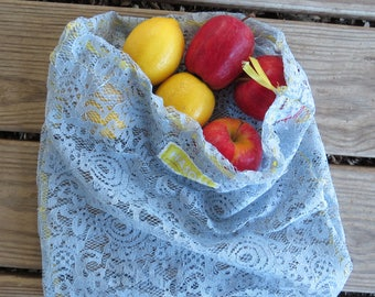 Upcycled Produce Bag / Zero Waste / Reusable Produce Bag / Reusable Bag / Produce Bag / Blue Lace Produce Bag