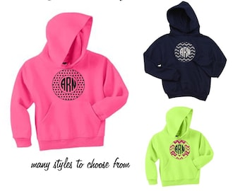 Glitter Monogram  Pullover Hooded Sweatshirt-Youth and Adult Sizes