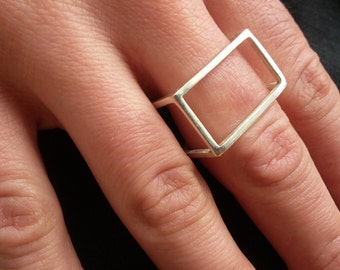 Simple geometric cube ring sterling silver