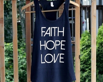Faith Hope Love Tank Top Christian Tank Tops for Women Christian Running Tanks Christian Shirts Barre Tank Tops Workout Tank Top Bible Verse