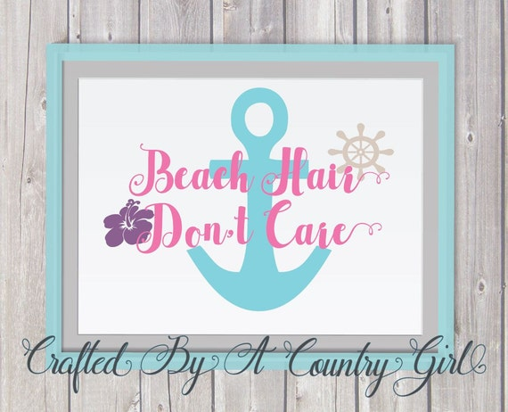 Beach Hair Svg Anchor Svg Dont Care Svg Cut File Silhouette