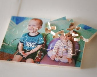 "Personalized Wood Photo Puzzle!(8""x10"" with 12 pieces and other options) Hand-crafted Personalized Puzzle for kids, weddings, birthdays"