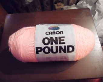 One skein of Caron One Pound yarn The color is Soft Pink  Worsted weight 4 Content 100 percent acrylic  16oz  812 yds