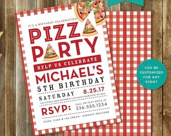 Pizza Party, Invite, Invitation